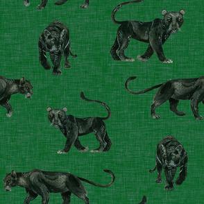 Black Panthers on Dark Green Linen