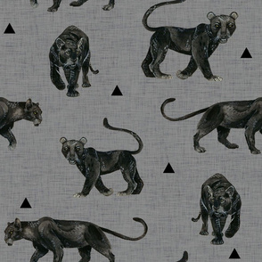 Black Panthers on Dark Linen with Black Triangles