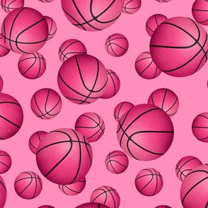 Pink basketballs pattern on pink - small