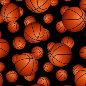 Basketball pattern on black - small