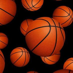 Basketballs pattern on black - large