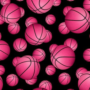 Pink basketballs on black - small