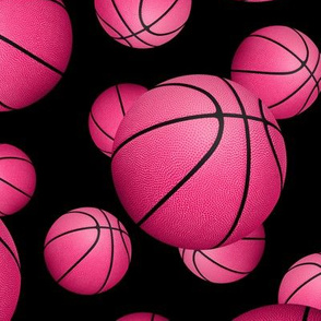 Pink basketballs on black - large
