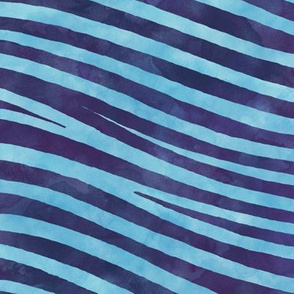 ★ ZEBRA SHIBORI ★ Indigo Blue Watercolor / Collection : Wild Stripes – Punk Rock Animal Prints 2