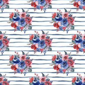 "4"" Freedom Florals // Blue Stripes"