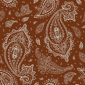 Bandana Paisley White on Brown