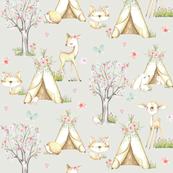 WhisperWood Nursery (eggshell) – Teepee Deer Fox Bunny Trees Flowers - SMALLER scale