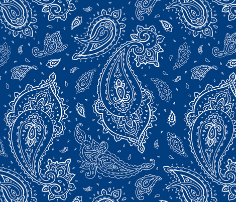 Bandana Paisley White On Navy Wallpaper Fabric Is My Name