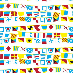 Nautical Flags in the Wind on White