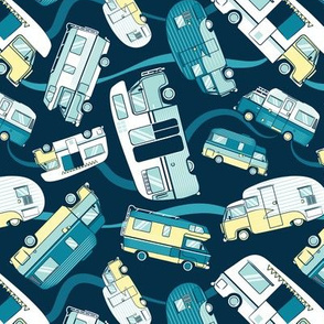 Topsy turvy home sweet motor home // yellow lime aqua and teal camper vans on navy blue background