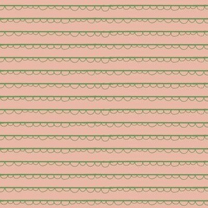 festive frilly stripe-peach/green