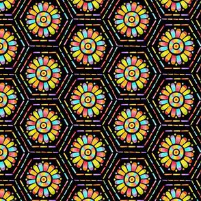Rainbow Mandala Hexagons