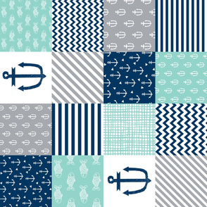 nautical cheater quilt nursery baby