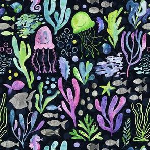 Sea world creatures and seaweed on dark blue