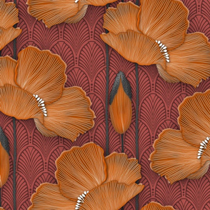 Art Deco Poppies Burnt Orange