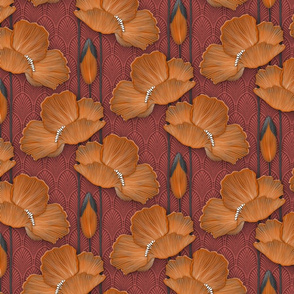 Art Deco Poppies Burnt Orange smaller