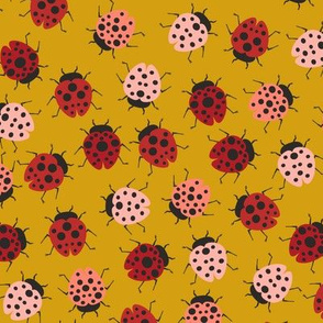 All Over Modern Ladybugs - Mustard background