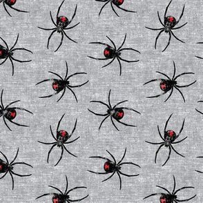 Black Widow Spiders - woven grey - LAD19