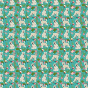 TINY - irish wheaten cactus floral fabric - soft coated wheaten terrier fabric, dog fabric, cactus florals fabric, cute dog fabric - teal