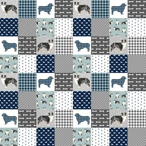 TINY -australian shepher pet quilt b blue merle cheater quilt floral