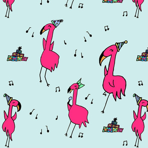 Flamingo Party in Blue