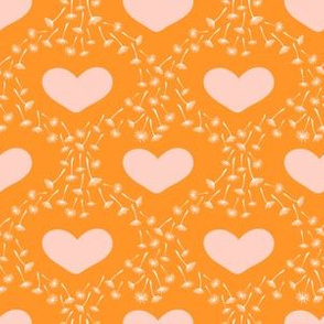 Orange Pink Dandelion seeds and hearts
