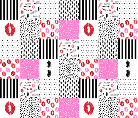 makeup cheater quilt fabric - cheater quilt, girls fabric, women fabric, makeup, cosmetics, beauty, beauty fabric - pink and red fabric by charlottewinter on Spoonflower - custom fabric