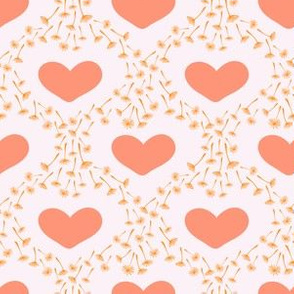 Dandelion seeds and hearts on pink background