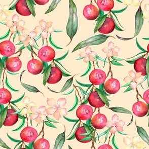 wild peaches on creamy background