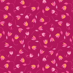 Pink ditsy tulip floral