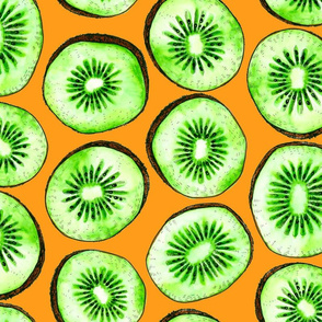 Kiwi slices on orange