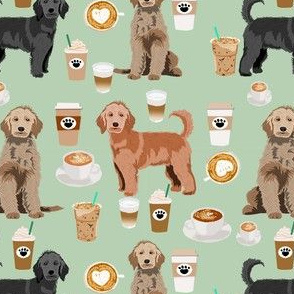 Doodle coffee fabric - golden doodle fabric, dog fabric, doodle fabric, doodle design - coffee fabric