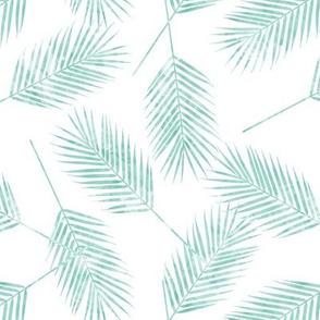 Palm leaves - aqua on white - summer - LAD19