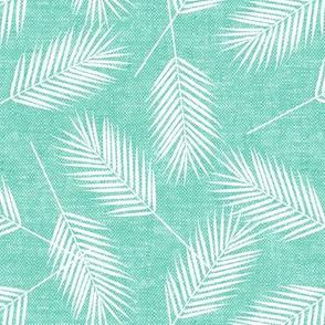 Palm leaves - teal - summer - LAD19