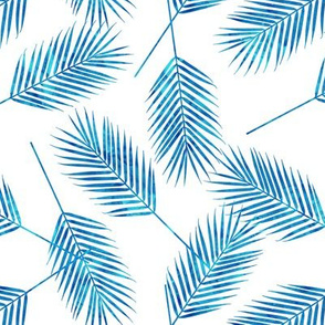 Palm leaves - bright blue - summer - LAD19