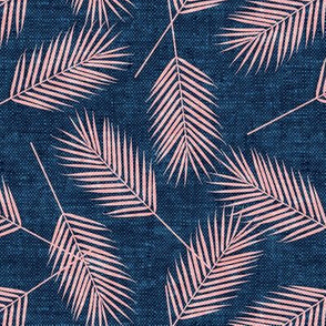 Palm leaves - pink on blue - summer - LAD19