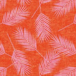 Palm leaves - pink on tropic orange - summer - LAD19