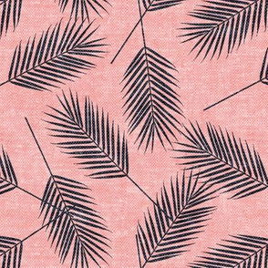 Palm leaves - blue on pink - summer - LAD19