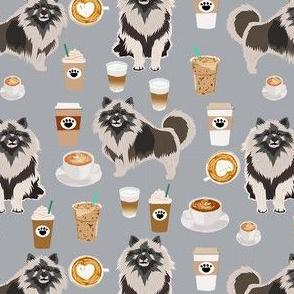keeshond coffee fabric - dog fabric, dogs fabric, keeshond fabric -grey