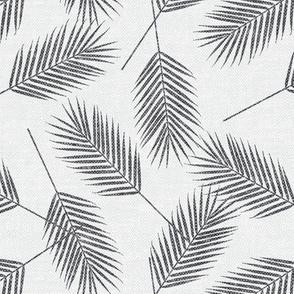 Palm leaves - grey on bone - summer - LAD19