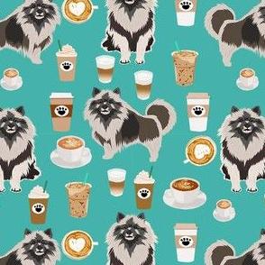 keeshond coffee fabric - dog fabric, dogs fabric, keeshond fabric - teal