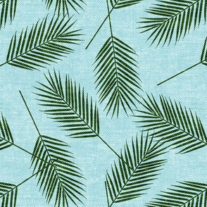 Palm leaves - green on blue - summer - LAD19