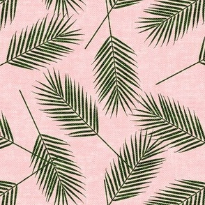Palm leaves - green on pink - summer - LAD19