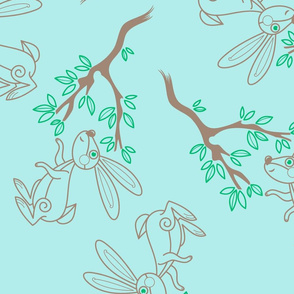 Bunny with Tree on Minty Blue