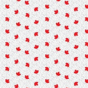 (micro scale) Maple leaves - black polka - LAD19BS