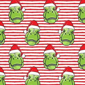 Santa Trex - Tyrannosaurus Dinosaur - Christmas -  red stripes (2) - LAD19