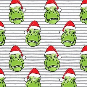 Santa Trex - Tyrannosaurus Dinosaur - Christmas -  grey stripes (2) - LAD19