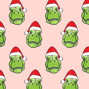 Santa Trex - Tyrannosaurus Dinosaur - Christmas -  pink  - LAD19
