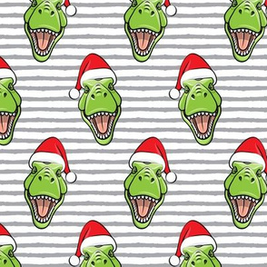 Santa Trex - Tyrannosaurus Dinosaur - Christmas -  grey  stripes - LAD19