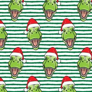 Santa Trex - Tyrannosaurus Dinosaur - Christmas -  green stripes - LAD19